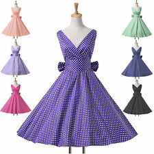 Vintage Housewife Victorian Swing 50's Polka Dots Retro Pinup Rockabilly Dress 1
