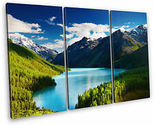 Mountain Lake Landscape Forest Canvas Wall Art Picture Multi 3 Panel Split
