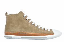 PRADA WOMEN'S SHOES HIGH TOP SUEDE TRAINERS SNEAKERS AVIATOR NAPPA BEIGE  E13