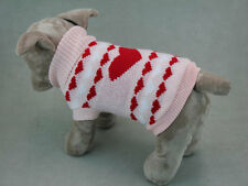 Pink Love Heart Dog or Puppy Knitted Jumper sweater warm and winter