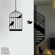 Bird Cage Silhouette Stencil Home Wall Decor Art Craft Painting Ideal Stencils