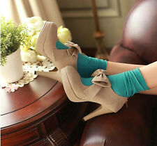 Hot Womens Ladies Vintage Bow Platform High Heels Sexy Sandals Party Court Shoes