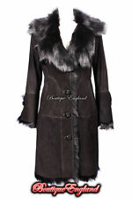 NEW Ladies 10-140 BLACK Knee Length Real Sheepskin Shearling Leather Jacket Coat