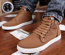 Fashion Men's Casual Suede Lace Loafers High Top Sneakers Ankle Boots Shoes M13