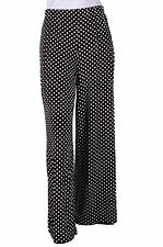 Womens Polka Dot Spot Print Wide Flared Leg Casual Palazzo Trousers Pants