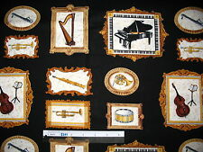 Music muscial instrument notes clef cotton quilting fabric *Choose design & size