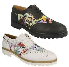 SPOT ON LADIES LACE UP BROGUE STYLE SHOES WITH FLORAL PRINT PATTERN F9766