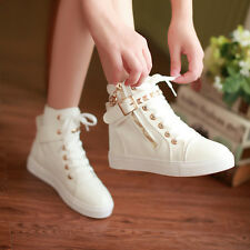 Women's Flat Heel Ankle Boots Girl's Fashion Canvas Shoes Lace-up Sneakers