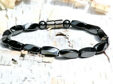 Men's Magnetic Hematite Bracelet Anklet 1 row all STRONG lg Twists FREE SHIPPING