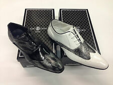 Designer white with grey / black with grey snake skin print shoes lace ups