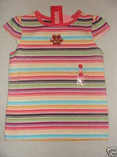 Gymboree JUNGLE GEM Coral Striped Sparkle Gem Flower Tee Shirt Top NWT 5