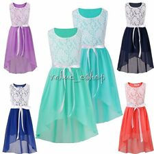 Girls Kids Princess Birthday Party Flower Girl Party Wedding Lace Bow Dress New