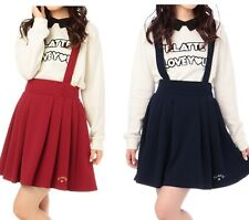 WOMEN LOLITA CUTE VINTAGE HIGH WAISTED  ELASTIC SKIRT OVERALLS EMBROIDERY