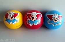 """1 or 3 Bozo Clown Inflatable Rubber 4"""" Play Balls - Red Blue or Yellow"""