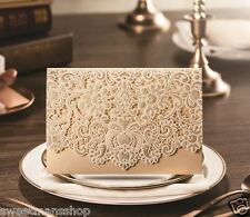 Personalised or DIY Gold Laser Cut Lace Effect Wedding Invitation Card ES