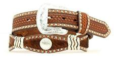 Nocona Western Mens Belt Hair-On Scalloped Conchos Brown N2413808