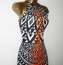 NEW RIVER ISLAND BLACK WHITE GOLD SUMMER BODYCON WIGGLE PARTY DRESS 6-14