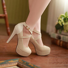 Womens Sexy High Heels Platform Strappy Buckle Stiletto Shoes Size 6-9