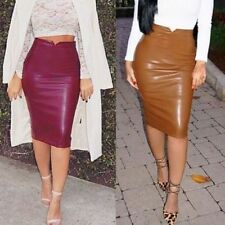 Women Spring Sexy Faux Leather High Waist Slit Pencil Bodycon Midi Skirt Hot