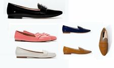Women ZARA Faux leather Soft slip on flat shoes lady Loafers & Moccasins new