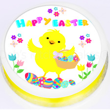 """Easter Cake Topper - Easter Chick Cake Topper - 7.5"""" Round Edible Icing or Wafer"""