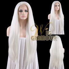 "Long Straight 28"" White Yaki Lace Front Wig Heat Resistant"