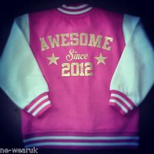 Personalised Printed & Embroidered Children's Varsity Jacket Custom Gift Fashion