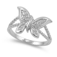 Sterling Silver 925 PRETTY BUTTERFLY CLEAR CZ DESIGN RING 12MM SIZES 5-9