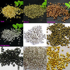 Wholesale 1000pcs Silver Plated/Gold/Bronze Tube Bead Crimp End Spacer Beads 2mm