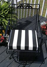 """Black and White Stripe Universal Patio Chair Seat Cushion- 3"""" Thick -Choose Size"""
