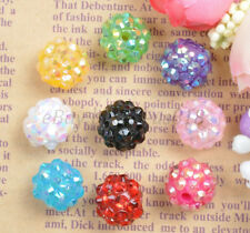 10Pcs Mixed Colour Sparkling Resin Rhinestones Round Ball Spacer Beads 12MM 14MM