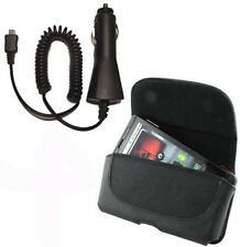 Belt Leather Case Cover + Car Adapter Charger FOR Microsoft Cell Phones 2015 new
