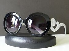 Designer Womens Baroque Round Sunglasses Swirl Arms Fashion Shades + Soft Bag