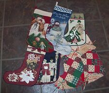 New Christmas Stocking Victorian tapestry needlepoint patchwork dog snowman