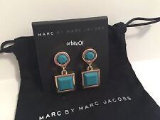 NWT MARC BY MARC JACOBS GOLD CIRCLE & SQUARE DROP EARRINGS TEAL GREEN POST $68