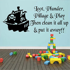 CHILDRENS PIRATE WALL ART STICKER QUOTE DECAL PLAYROOM DIY HOME DECOR PHRASES