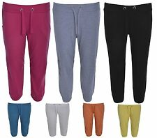 NEW WOMENS LADIES PLUS SIZE JOGGING BOTTOMS CAPRI TROUSERS 3/4 SHORTS SIZE 16-24