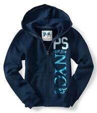 NWT PS Aeropostale Kids Girls Size 7 Zip Up Front Sweatshirt Hoodie Navy Blue