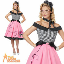 Nifty 50s Rock n Roll Poodle Hop Dress Costume Ladies Womens Fancy Dress Outfit