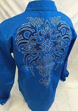 Mens Victorious Cross Tribal Button Down Shirt Blue Roar With Style L XL 2XL 3XL