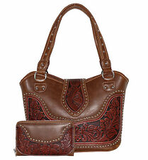 Montana West Tooled Leather Gun Holster Concealed Carry Purse w/ Wallet CCW