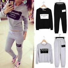 Hot Women 2 Pcs Tracksuit Hoodie Sweatshirt Coat+Pant Trouser Casual Sport Suit
