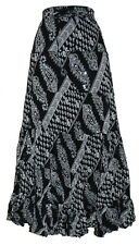 LADIES LONG CRINKLE COTTON TIERED HIPPY BOHO GYPSY MAXI SKIRT WITH SEQUINS