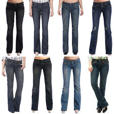Stitch's Womens Bootcut Jeans Ripped Faded Low Cut Denim Trouser Pants Size 6-16