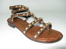 NEW Sam Edelman Eavan Dark Brown Leather Studded Gladiator Sandal SZ 7- 8.5