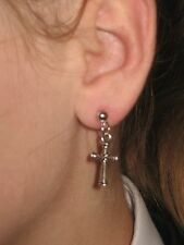 Pair CROSS  Earrings dangle hooks or studs ***UK made*** Free 1St Class Post***