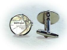 Vintage Map Cufflinks Pittsburgh, Louisville, Detroit, Cincinnati & Chicago