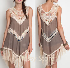 Umgee USA Crochet Tunic Dress Free Gypsy Hippie Fringe Country Boho Mocha  S,M,L