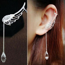 Girls Angel Wing Silver Plated Crystal Chain Drop Dangle Ear Stud Clip Earring