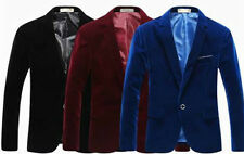 Mens Velvet Blazer Jacket Adults Smart Slim-Fit Blazers Coat 36''/ 38'' / 40''